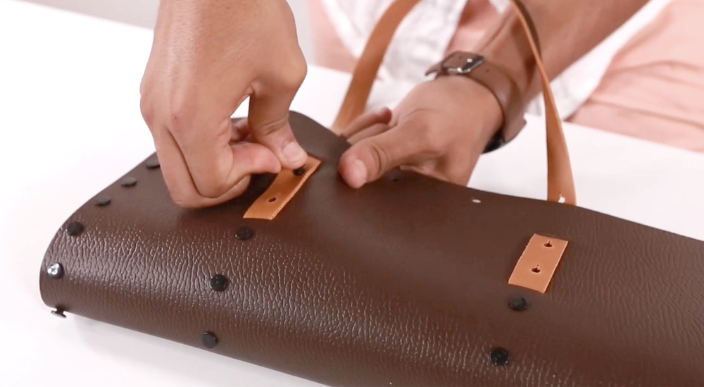 leather handles double face bi color insert to make create assemble build your own bag at home using your hands and our kit bag including cufflinks